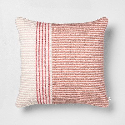 "18"" x 18"" Stripe Square Pillow Dusty Rose/Light Pink - Hearth & Hand™ with Magnolia"