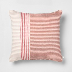 18x18 Stripe Square Pillow Dusty Rose / Light Pink - Hearth & Hand™ with Magnolia