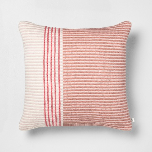 18x18 Stripe Square Pillow Dusty Rose / Light Pink - Hearth & Hand™ with Magnolia - image 1 of 4