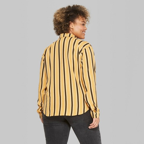 fcff273dd4553c Women s Plus Size Striped Long Sleeve Tie Front Button-Down Shirt - Wild  Fable™ Mustard 1X   Target