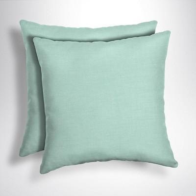 2pk Leala Texture Square Outdoor Throw Pillows Aqua - Arden Selections