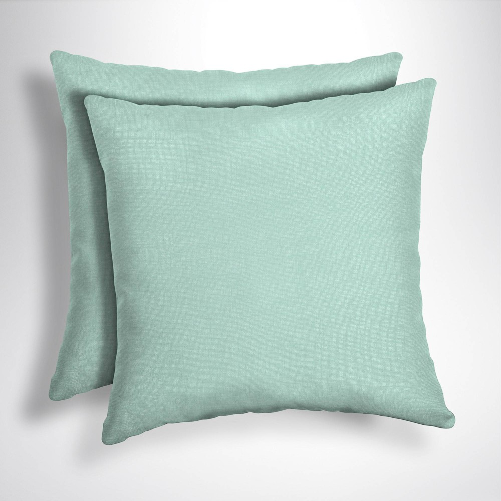 Image of 2pk Leala Texture Square Outdoor Throw Pillows Aqua - Arden Selections