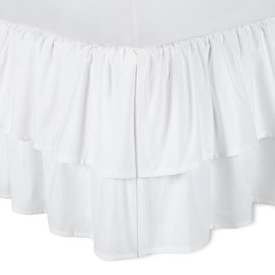 White Double Ruffle Bed Skirt (King)- Simply Shabby Chic®