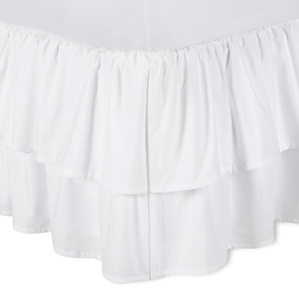 Image of White Double Ruffle Bed Skirt (King) - Simply Shabby Chic