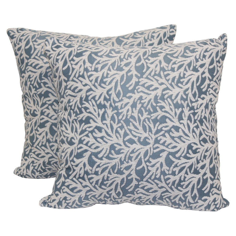 Blue Coral Branch Toss Throw Pillow 2 Pack (18