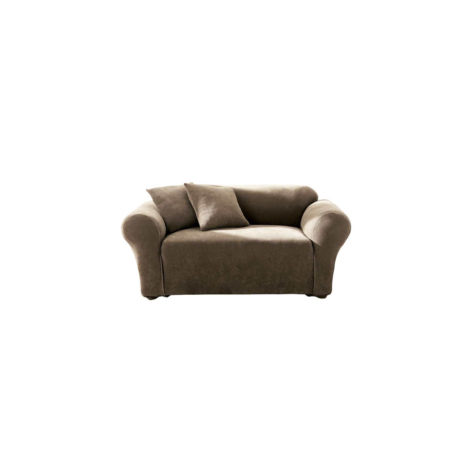 Taupe Stretch Pique Sofa Slipcover - Sure Fit, Brown