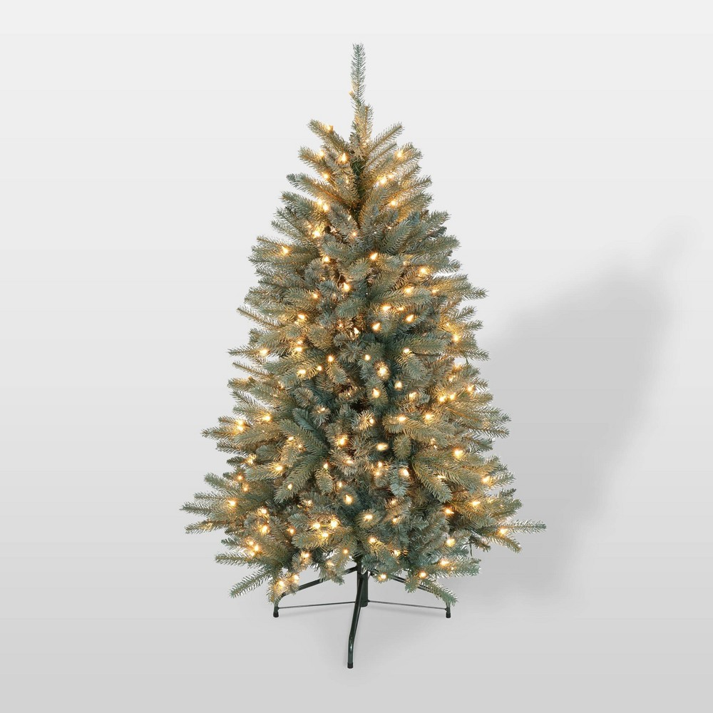 Image of 4.5ft Pre-Lit Blue Geneva Fir Tree Artificial Christmas Tree - Puleo