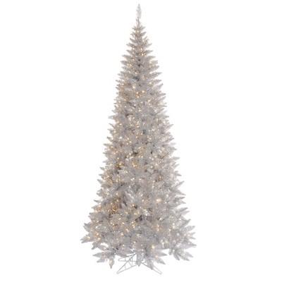 Vickerman Silver Tinsel Fir Slim Artificial Christmas Tree