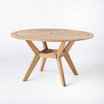 Bluffdale 6 Person Wood Round Patio Dining Table - Threshold™ designed with Studio McGee