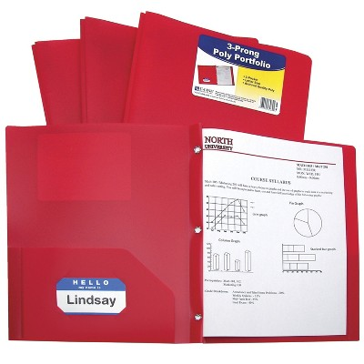 C-Line Poly Portfolio Folder with Prongs, Letter, Red, pk of 25