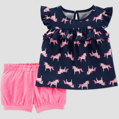 Baby Girls' 2pc Unicorn Print Top and Bottom Set - Just One You® made by carter's Navy/Pink 3M