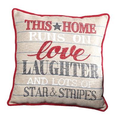 Lakeside Americana Patriotic Decorative Sentiment Throw Pillow - Seasonal Accent