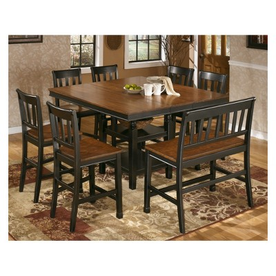 Bon Owingsville Square Dining Room Counter Extendable Table Wood/Black/Brown    Signature Design By Ashley : Target