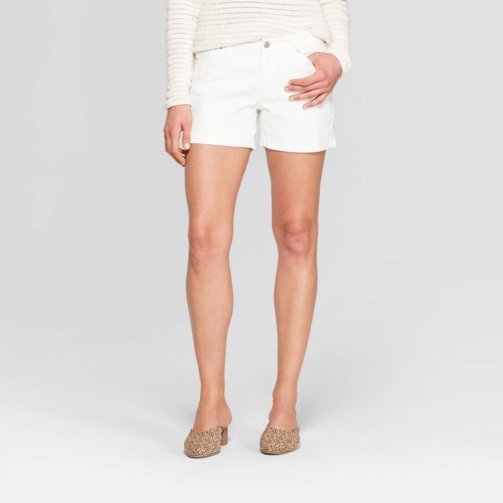 Women's Mid-Rise Double Cuff Midi Jean Shorts - Universal Thread White 0