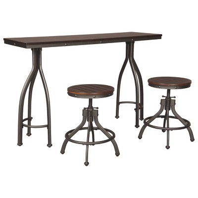 Set of 3 Odium Rectangular Dining Room Counter Table Set Brown - Signature Design by Ashley