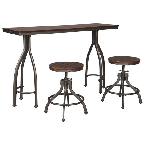 Set of 3 Odium Rectangular Dining Room Counter Table Set Brown - Signature Design by Ashley - image 1 of 3