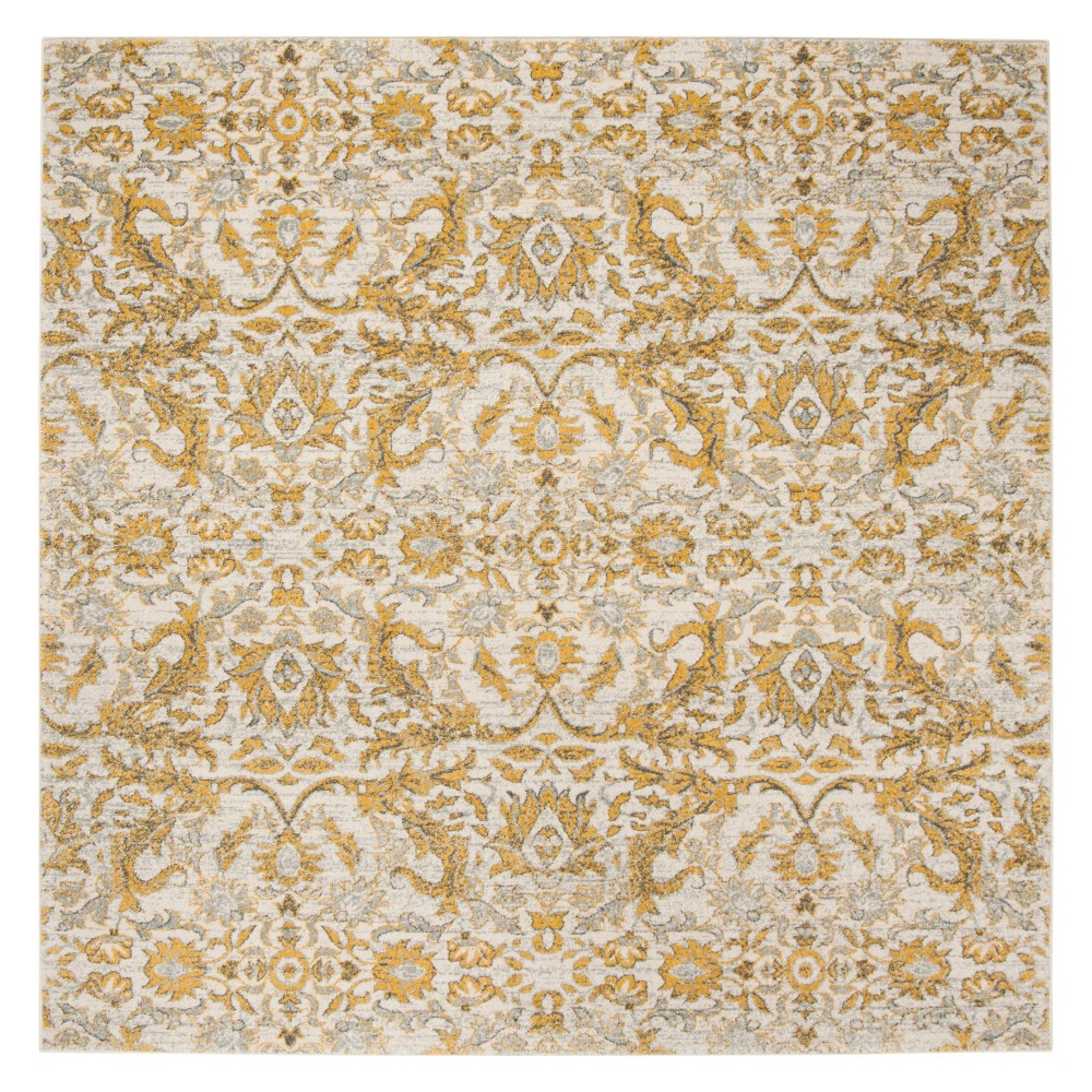 67X67 Floral Square Area Rug Ivory/Gold - Safavieh Cheap