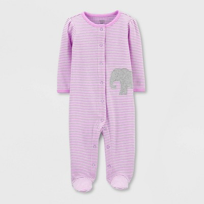 Baby Girls' Elephant Interlock Sleep 'N Play 1pc Pajama - Just One You® made by carter's Purple Newborn
