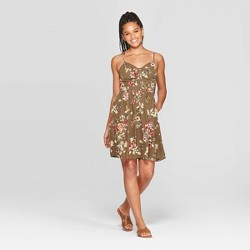 Women's Floral Print Sleeveless Deep V-Neck Button Front Mini Dress - Xhilaration™ Olive