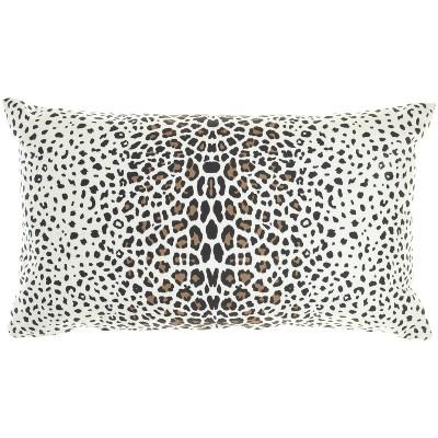 "14""x24"" Oversized Reversible Indoor/Outdoor Leopard Print Lumbar Throw Pillow - Mina Victory"