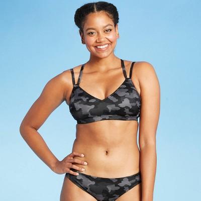 Women's Strappy Racerback Bikini Top - All in Motion™ Black Camo Print