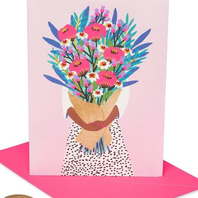 """Girl Holding Flowers """"Happy Birthday"""" Card - PAPYRUS"""