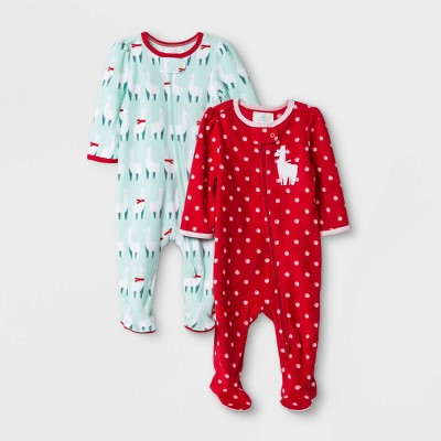 Baby Girls' 2pk 'Llama Love Holiday' Fleece Sleep N' Play - Cloud Island™ Red Newborn