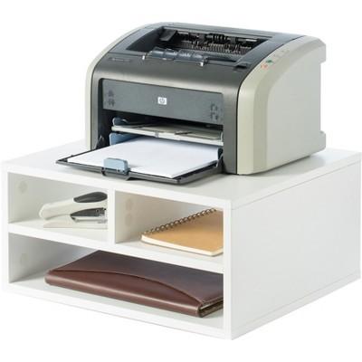 Basicwise Printer Stand Shelf Wood Office Desktop Compartment Organizer
