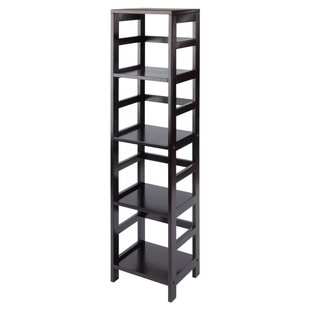 55 4 Section Narrow Bookshelf Espresso Winsome
