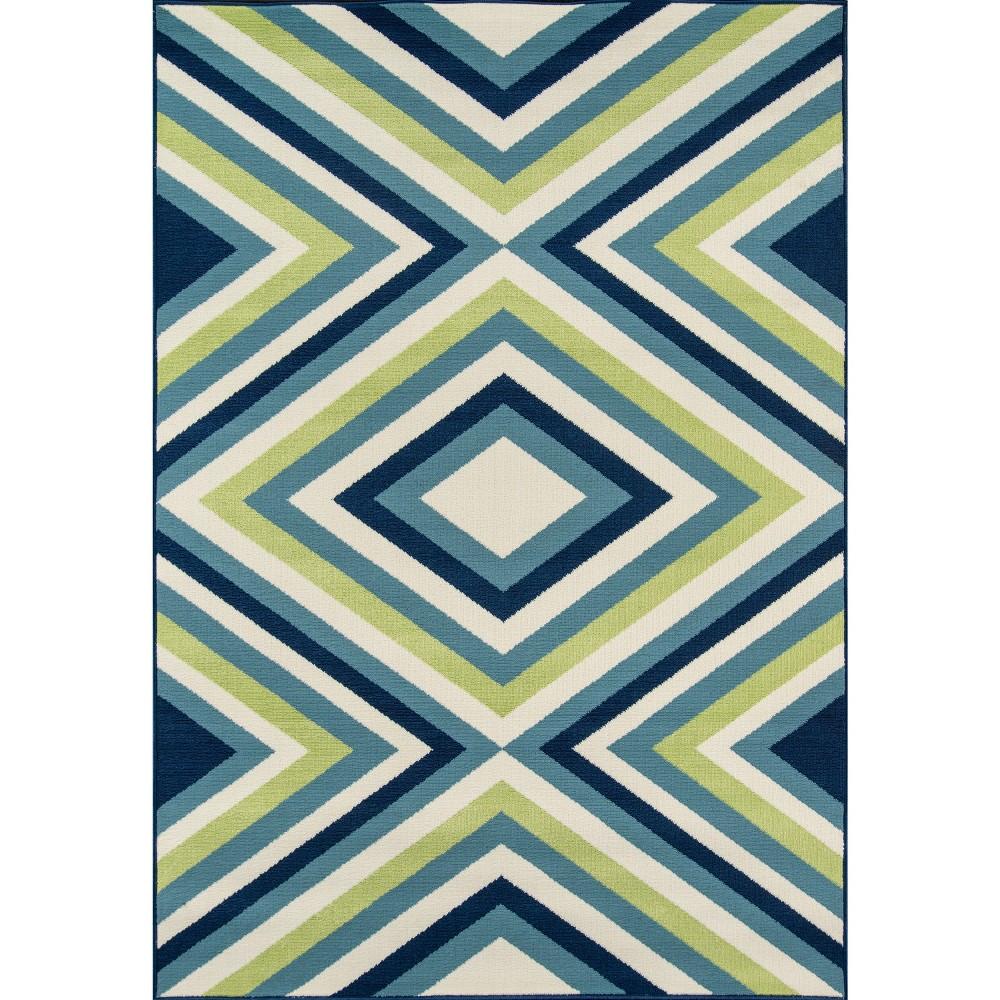 9'X13' Geometric Area Rug Blue/Yellow - Momeni, Blue/Yellow/White