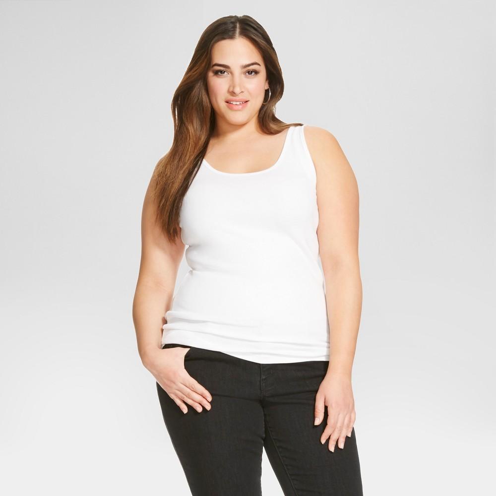 Women's Plus Size Tank Top - Ava & Viv - White 3X