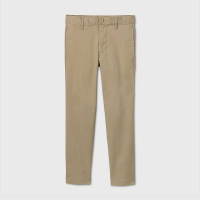 Boys' Flat Front Stretch Uniform Straight Fit Pants - Cat & Jack™ Khaki