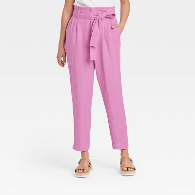 Women's Plus Size High-Rise Relaxed Fit Paperbag Ankle Pants - A New Day™ Purple