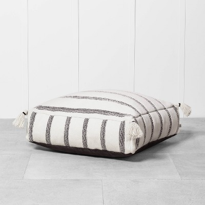 Outdoor Floor Cushion Black / White - Hearth & Hand™ with Magnolia