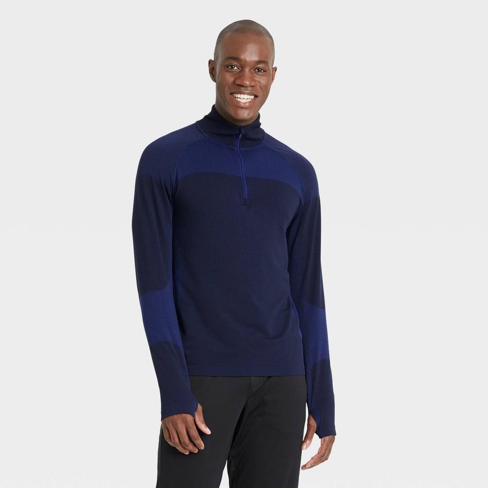 Men 39 S Big 38 Tall Seamless 1 4 Zip Pullover All In Motion 8482 Dark Blue Heather Xxxl