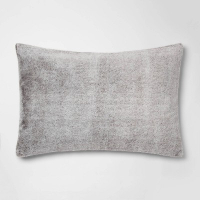 Standard Heather Faux Fur Pillowcase Gray - Threshold™