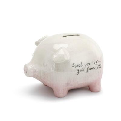 DEMDACO Pink Gift From God Piggy Bank 5 x 4 - Pink
