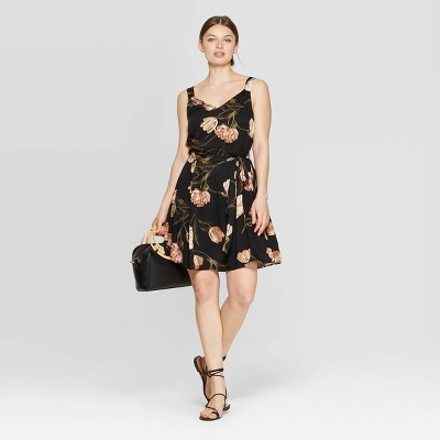 Women's Floral Print Sleeveless V Neck Woven Dress   A New Day Cream/Black by Neck Woven Dress