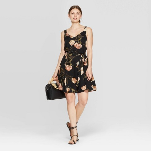 Women's Floral Print Sleeveless V-Neck Woven Dress - A New Day™ Cream/Black - image 1 of 3