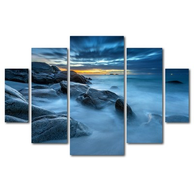 'Blue Hour for a Blue Ocean' by Mathieu Rivrin Ready to Hang Multi Panel Art Set