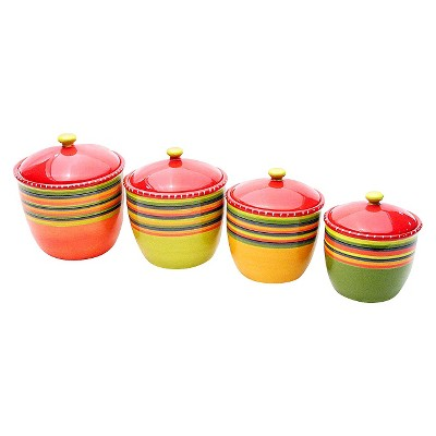 Certified International Hot Tamale Canisters - Set of 4 (44, 64, 80, 104 oz.)