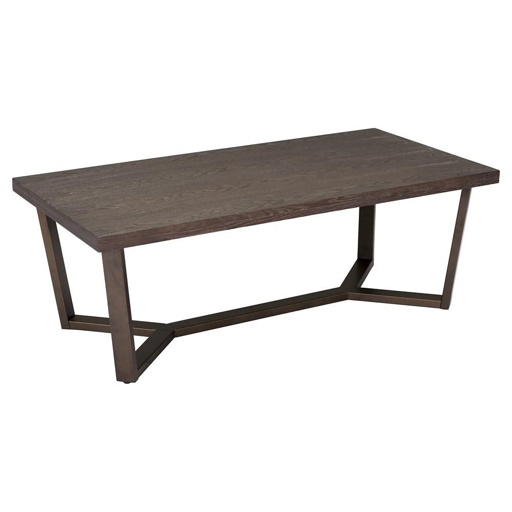 Modern Industrial 47 Rectangular Coffee Table - Gray Oak/Antique Brass - ZM Home, Gray Oak And Antique Brass