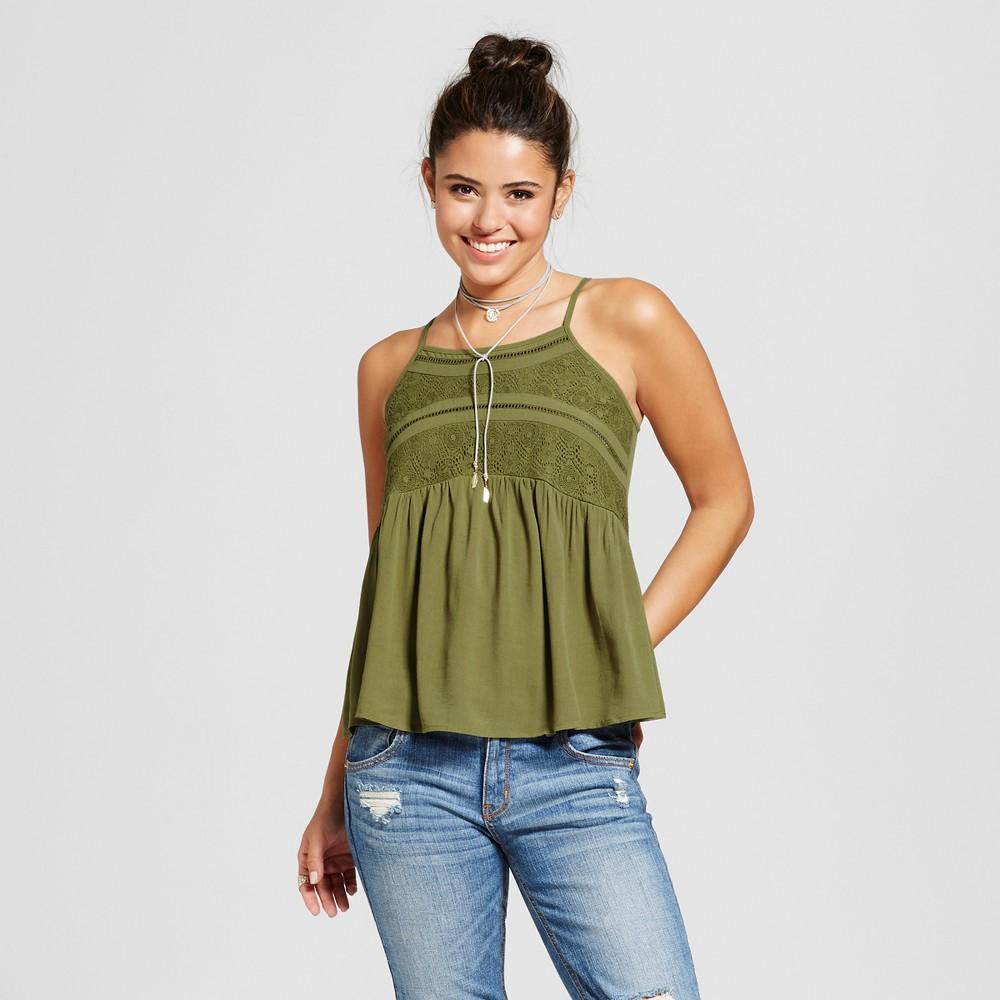 Women's Lace-Insert Cami Top - Xhilaration (Juniors') Seaweed S