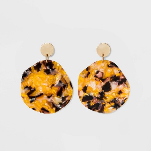Ring and Acetate Oval Earrings - A New Day™ Gold - image 1 of 3