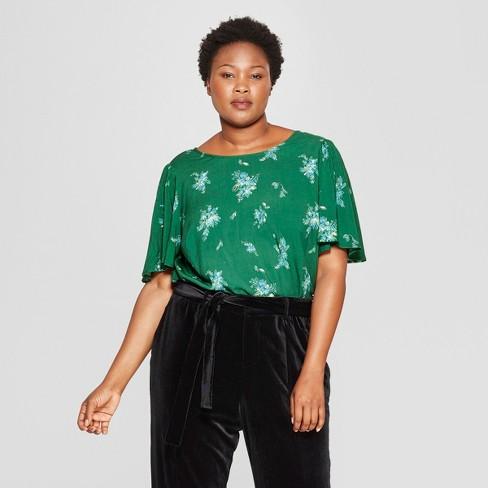 b111595ac36 Women s Plus Size Floral Print Short Flutter Sleeve Top - Ava   Viv™ Green