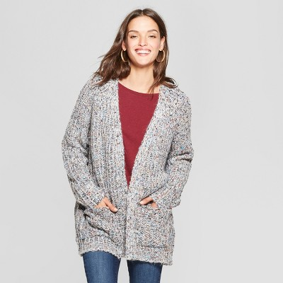 Women's Colored Boucle Open Cardigan   Universal Thread™ Gray by Universal Thread