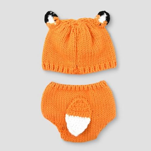 0319924430b Baby Fox Hat   Diaper Cover Set - Cloud Island™ Orange   Target