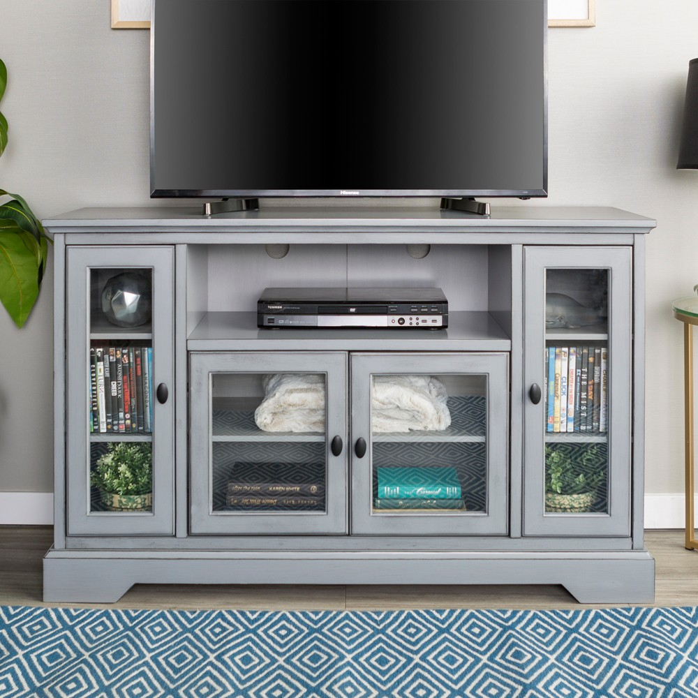 Glass Door Traditional Highboy Tv Stand For Tvs Up To 58 34 Vintage Gray Saracina Home