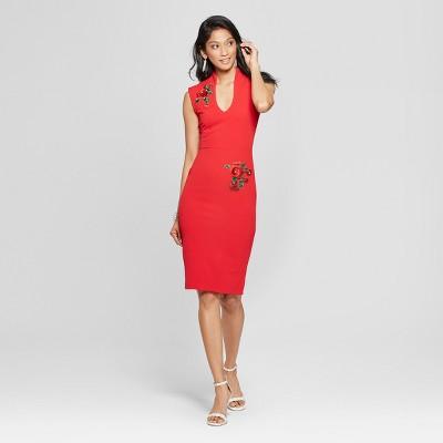 01045bdc82ae7 Women s 3D Rose Applique Dress - Almost Famous (Juniors ) Red   Target