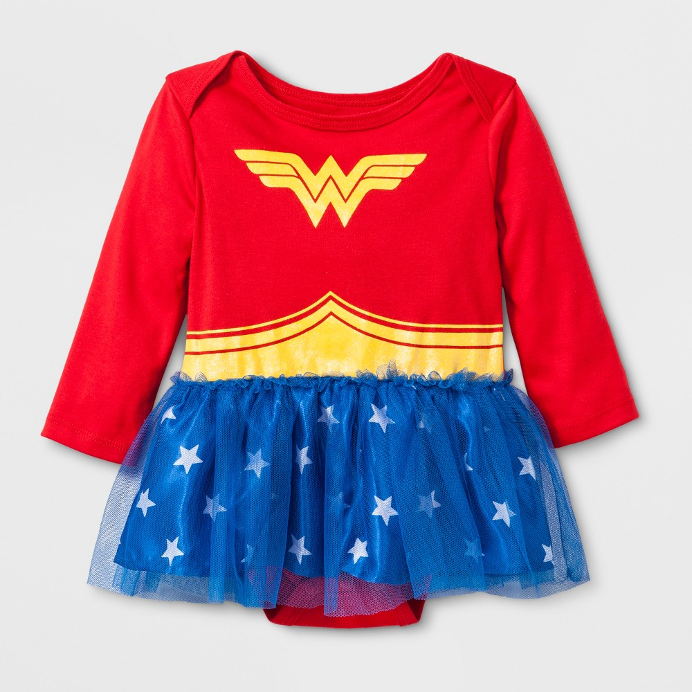 Baby Girls' DC Comics Wonder Woman Long Sleeve Tutu Dress - Red 0-3M